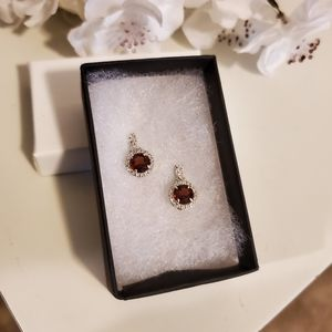 Brand New...Ruby and White Crystal Earrings